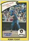 1990 Robin Yount Milwaukee Brewers Card Starting Lineup SLU MLB Baseball Yellow