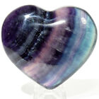 71mm Banded Fluorite Puffy Heart Natural Layered Sparkling Crystal Stone China