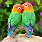 PARROTS ON BRANCH LOVE BIRDS Realistic Life Like Figurine Statue Home Garden