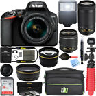 Nikon D3500 DSLR Camera w AF P DX 18 55mm  70 300mm Lens 16GB Accessory Bundle