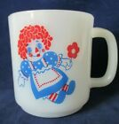 Raggedy Ann and Andy Vintage Milk Glass Coffee Mug Unmarked Nice Condition