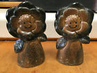 Vintage Ceramic Salt  Pepper Shakers Set Made in Japan Happy Flowers