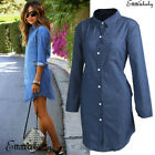 US New Ladies Women Denim Jeans Dress Casual Tops Mini Shirt Dress Long Sleeve