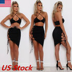 Hot Women Bodycon Two Piece Crop Top and Skirt Set Strappy Bandage Dress Party