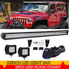 52 + 4 18W LED Light Bar + Wiring Kit For 2007 2017 Jeep Wrangler JK Rubicon