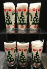 6 Hazel Atlas Merry Christmas Tree Drinking Glasses Tumblers - Happy New Year