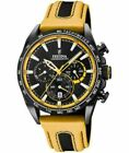 New Festina Mens Black PVD Plated Chrono Leather Strap F20351/4 Watch