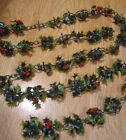 Vintage Plastic Holly Berry  Leaves 6 1 2 ft Christmas Garland Small size