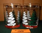 2 Mid Century Culver Glass Holiday Christmas Tree Lowball Drink Glass Tumblers