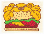 Vintage MELLO SMELLO Scatch  Smell Sniff Stickers BARBEQUE HAMBEARGER Hamburger