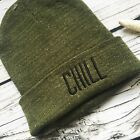Green Graphic Beanie Embroidered CHILL Graphic Winter Ski Hat OS