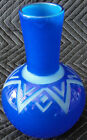 Rare Correia Art Glass Round Blue Vase with Etched Triangles 1990 Artists Proof