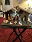 Vintage Plastic Nativity Set Made in Hong Kong Glue To Manger RARE