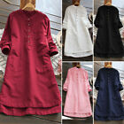 Ladies Women Summer Long Sleeve T-shirt Cotton Linen Casual Loose Dress S-3XL