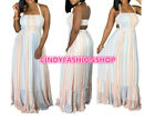 USA Woman Off Shoulder Sexy Boho Halter A-Line Party Beach Chiffon Wear Dress B