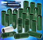 FOR NISSAN 12MMx125MM LOCKING LUG NUTS CAR AUTO 60MM EXTENDED ALUMINUM GREEN