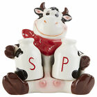 Milk Jug Salt and Pepper Shakers with Cartoon Cow 95 x 4 Inch Ceramic