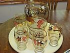 Vintage Thanksgiving Gold Leaves Vines and Red Grapes and Pitcher and 5 Tumbler