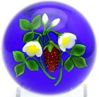 LARGE Enchanting VICTOR TRABUCCO Vivid STRAWBERRY Plant Art Glass PAPERWEIGHT