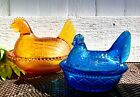 TURQUOISE INDIANA GLASS HEN ON NEST COVERED CANDY DISH SET