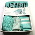 Women's NWT Striped Joyful 4pc Pajama Set MED Loungewear Sparkle Beanie Flannel
