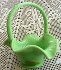2008 Fenton Chameleon Green Copper Leaves Glass Basket
