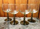 Vintage German Olive Green Ball Stem Wine Glasses (4) very good condition