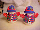 LARGE Jolly Dressed Up Snowman Ceramic Salt and Pepper Shakers NEW