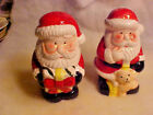 LARGE Holiday Jolly Santa with Gift  Bear Ceramic Salt and Pepper Shakers NEW
