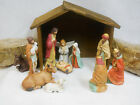 NATIVITY SET Fine Porcelain 11 pieces Boxed w bonus wooden stable and hay bales