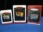 (3) Hallmark Ornaments Yuletide Central Tender, Mail Car, Toy Cargo Pressed Tin