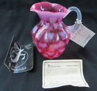 Fenton Glass Cranberry Opalescent Heart Optic Melon Pitcher Signed Don Fenton