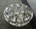 Vintage Heavy Pressed Glass Round Flower Frog 4 5/8