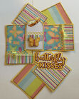 BUTTERFLY KISSES Premade Scrapbook Page Mat Set SEWN