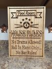 Personalized Billiards Room Pool Hall Gift Custom Carved Wood Plaque Man Cave
