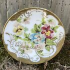 Antique MT Washington Plate Hand Painted Charger Floral Embossed Milk Glass