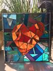 Stained Glass Valentines Wedding Panel Abstract Window Contemporary Heart
