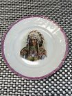 Antique Porcelain Plate Indian Native American Plaque Chief Sitting Bull 7 3 4