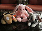 Lot Of 3 BEANIE BABIES PRANCE THE CAT, HOPPITY THE BUNNY, DERBY THE HORSE