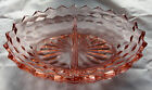 PINK Depression Glass Cube Block 2 Part Oval Divided BOWL Cubist Zig Zag Edge