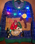 Blizzard Bay Womens Nativity Scene Ugly Christmas Sweater LIGHTS UP size M NEW