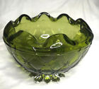 Indiana Glass Green Duette Quilted Diamond,pinched Rose Bowl with Mtl. Leaf Base