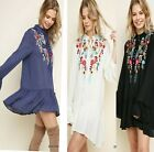 S-PLUS 2X UMGEE BOUTIQUE  floral Embroidered Button Ruffle Dress/Tunic SASSY SKY