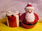 LARGE Holiday Red Round Jolly Santa  Round Present Salt and Pepper Shakers NEW