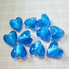 20mm Turquoise Lampwork Glass Silver Foil Heart Beads