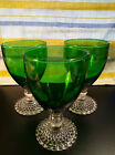 3 VTG Anchor Hocking Forest Green Glass Clear Bubble Hobnail Stem Water Goblets