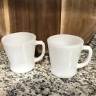 2 Vintage Fire-King Anchor Hocking White Milk Glass Coffee Cups/Mugs D Handle