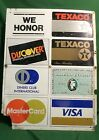 DOUBLE SIDED METAL TEXACO WE HONOR CREDIT CARDS ADVERTISING SIGN