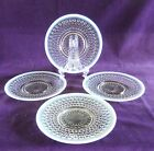 4 VTG Opalescent Hobnail Anchor Hocking Moonstone Saucers 6-1/4