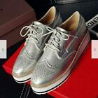 Women Brogues Lady Oxfords Flat Platform Wing Tip Sneakers Shoes US 8 Hd214